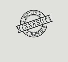 Made In Minnesota Stamp Style Logo Symbol Black Unisex T-Shirt