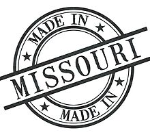 Made In Missouri Stamp Style Logo Symbol Black by surgedesigns