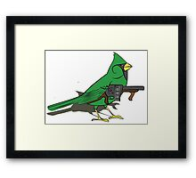 Budgie with a Gun Green Framed Print