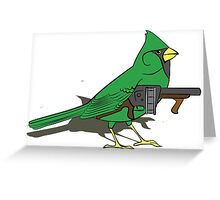 Budgie with a Gun Green Greeting Card