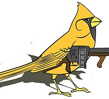 Budgie with a Gun Yellow by retromoomin