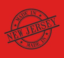 Made In New Jersey Stamp Style Logo Symbol Black Kids Tee