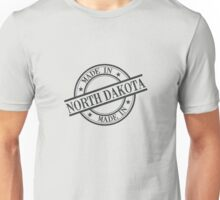 Made In North Dakota Stamp Style Logo Symbol Black Unisex T-Shirt
