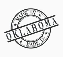 Made In Oklahoma Stamp Style Logo Symbol Black One Piece - Short Sleeve