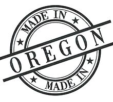 Made In Oregon Stamp Style Logo Symbol Black by surgedesigns