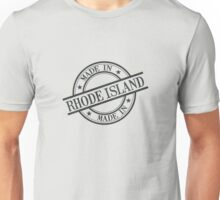 Made In Rhode Island Stamp Style Logo Symbol Black Unisex T-Shirt