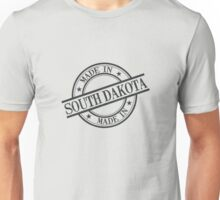 Made In South Dakota Stamp Style Logo Symbol Black Unisex T-Shirt