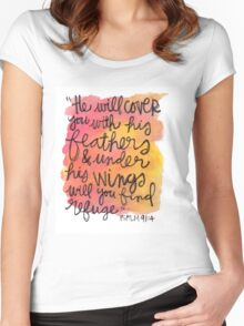Psalm 91:4 Women's Fitted Scoop T-Shirt