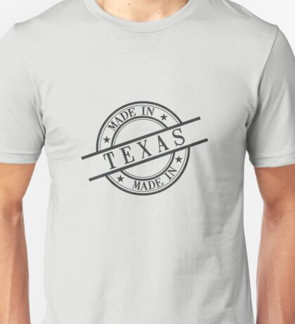 Made In Texas Stamp Style Logo Symbol Black Unisex T-Shirt