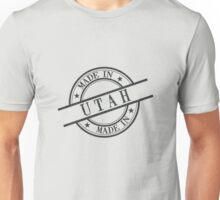 Made In Utah Stamp Style Logo Symbol Black Unisex T-Shirt