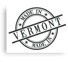 Made In Vermont Stamp Style Logo Symbol Black Canvas Print
