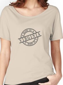Made In Virginia Stamp Style Logo Symbol Black Women's Relaxed Fit T-Shirt