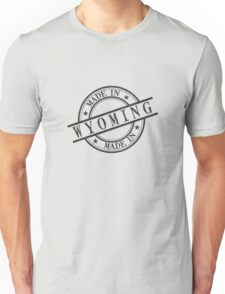 Made In Wyoming Stamp Style Logo Symbol Black Unisex T-Shirt