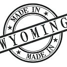 Made In Wyoming Stamp Style Logo Symbol Black by surgedesigns