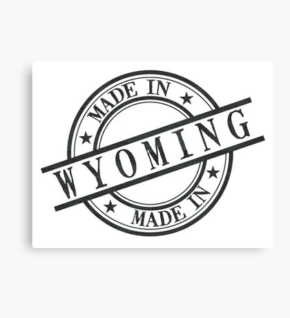 Made In Wyoming Stamp Style Logo Symbol Black Canvas Print