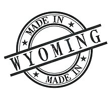 Made In Wyoming Stamp Style Logo Symbol Black Photographic Print