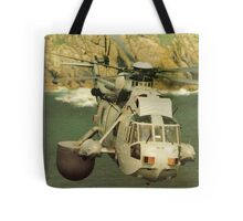 A Sea King Helicopter belonging to 849 sqn Tote Bag