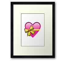 Heart With Ribbon Apple / WhatsApp Emoji Framed Print