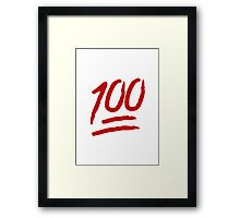 Hundred Points Symbol Apple / WhatsApp Emoji Framed Print