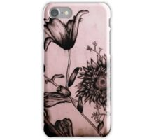 Charcoal Flowers iPhone Case/Skin