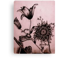 Charcoal Flowers Canvas Print
