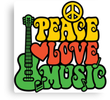 Reggae Peace-Love-Music Canvas Print