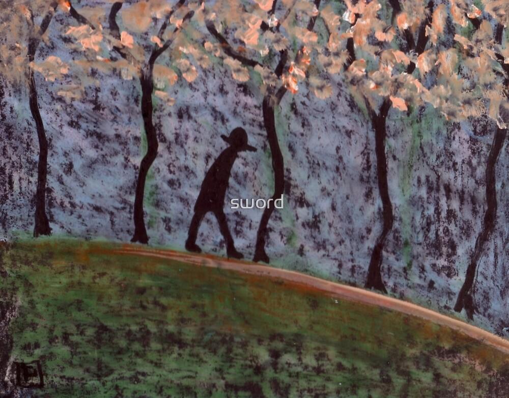 Man Walking through trees by sword