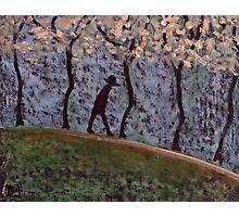 Man Walking through trees Photographic Print