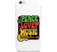 Peace, Love, Music in Rasta Colors iPhone Case/Skin