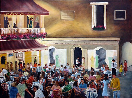 `Al Piccolo Bar' at night - in Piazza Umberto - Capri by Carole Russell
