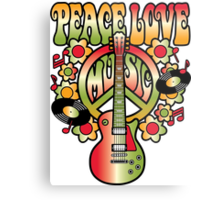 Peace-Love-Music Metal Print