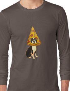 Boston Terrier Pizza Dog Long Sleeve T-Shirt