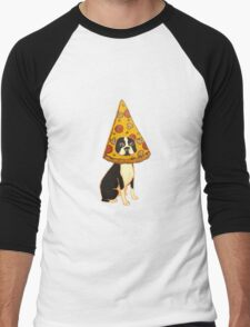Boston Terrier Pizza Dog Men's Baseball ¾ T-Shirt