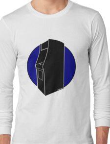 Retrogamer - Arcade Cabinet Silhouette - BLUE Long Sleeve T-Shirt