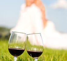 two wineglasses wedding picnic by Arletta Cwalina