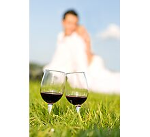 two wineglasses wedding picnic Photographic Print