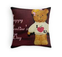 Valentine's Day Card - Teddy Bear Loves You Throw Pillow