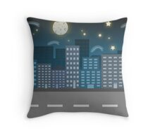 night city blue location illustration Throw Pillow