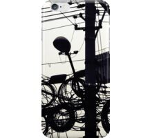 Black and white street photography print, Shanghai high speed urban development lamp post wires, vintage editorial China travel photography iPhone Case/Skin
