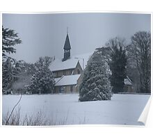 Snow Scene Church Poster