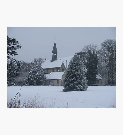 Snow Scene Church Photographic Print
