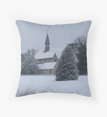 Snow Scene Church Throw Pillow