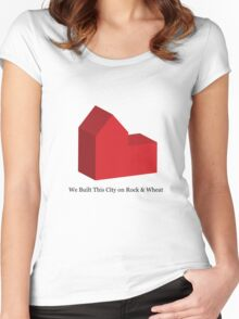 We Built This City on Rock & Wheat Women's Fitted Scoop T-Shirt