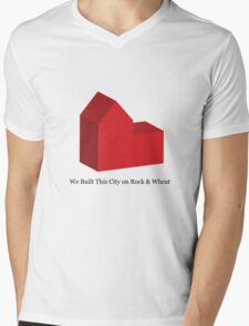 We Built This City on Rock & Wheat Mens V-Neck T-Shirt