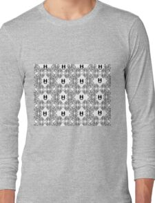 Abstract Black and White Sketch with Seahorses Long Sleeve T-Shirt