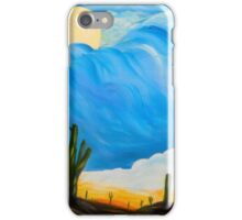 Full Moon Desert- sunset oil painting- cactus field, southwest art iPhone Case/Skin