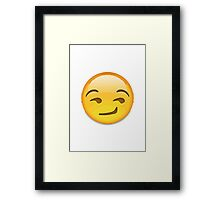 Smirking Face Apple / WhatsApp Emoji Framed Print