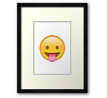 Face With Stuck-Out Tongue Apple / WhatsApp Emoji Framed Print
