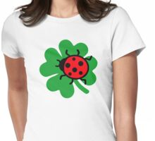 Shamrock ladybug Womens Fitted T-Shirt