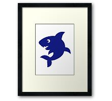 Blue comic shark Framed Print